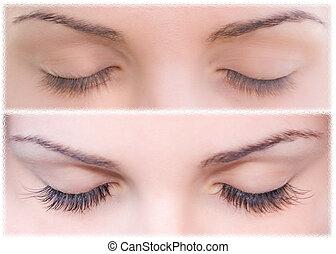 Natural and false eyelashes before and after. - Close...
