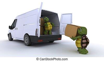 tortoises loading a van - 3D render of a tortoises loading a...