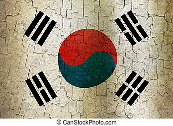 Grunge South Korea flag - South Korea flag on a cracked...