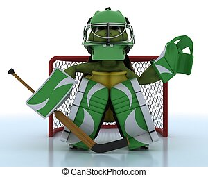 tortoise playing ice hockey - 3D render of a tortoise...