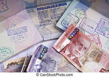 Reino,  Canadá, unidas,  opend, mostrando, três, Etiópia, Pilha, ao lado, visto, passaporte, notas, banco