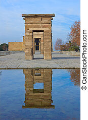 entrance in temple Debod, Madrid, Spain - arched entrance in...