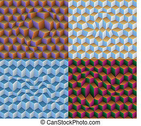 Four 3D Distorted Cubes Seamless Patterns
