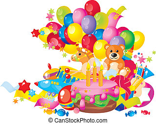 Children's birthday: toys, birthday cake, balloons and gift...