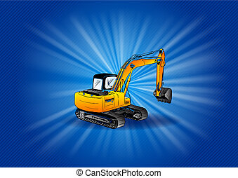 digger on the blue background