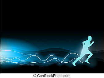 shining runner - blue shining runner on the black background
