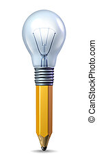 Creative Ideas - Creative ideas icon with a pencil and a...