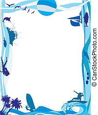sea frame - water sports - frame in blue shades, water skii,...
