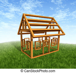 House Construction - House construction with the wood frame...