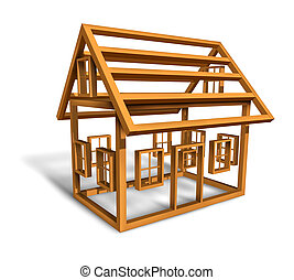 Home Construction - Home construction with the wood frame...