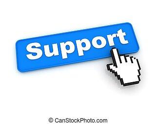 soutien, bouton, main, Curseur