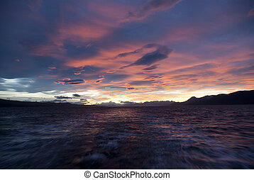 Pink sky - Pink sky over the Beagle Channel