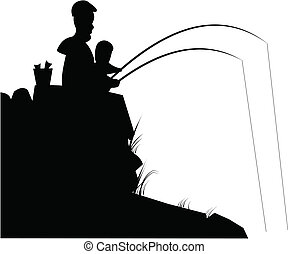 father and son fishing - silhouette of father and son...