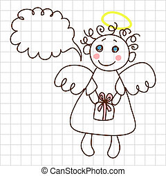 Cute angel - Childe drawing greeting card with cute angel