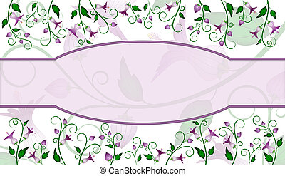 Flower label design - Purple flowers design with lavender...