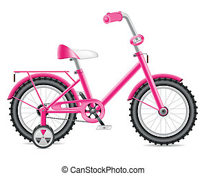 kids bicycle for a girl vector illustration isolated on...