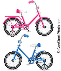 pink and blue kids bicycle vector illustration isolated on...