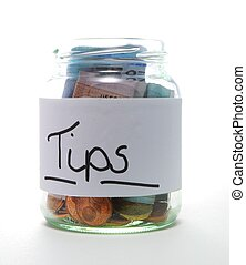 tip jar with bills and coins on white background