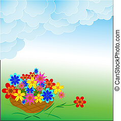 Basket of flowers on a green background
