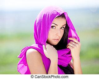 oriental beauty - beautiful young brunette oriental...