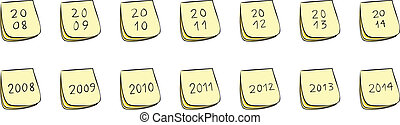 Yearly Post-It Notes With Handwritten Numbers (Years 2008...