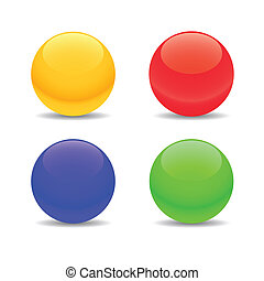 Four spheres - Four multi-colored spheres on a white...