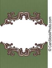 Abstract vintage frame with vignettes for design on white
