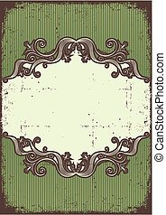 Abstract vintage frame with vignettes for design on old paper te