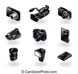 Electronics icon set - Cameras and - Vector set of 9 modern...