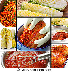 making kimchi process, korean food - making kimchi process,...