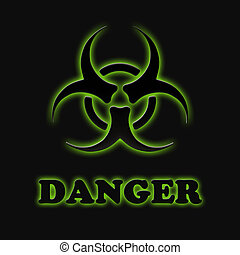 The sign of biological hazards on a black background
