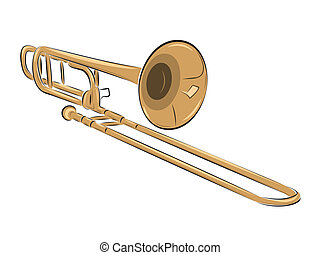 musical instrument trombone illustration - musical...