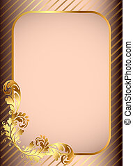 frame background with golden pattern and band - illustration...