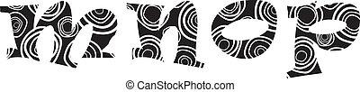 Handdrawn vector lliteras - m,n,o,p, alphabet