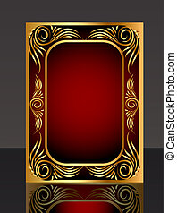 frame with golden pattern and reflection - illustration...