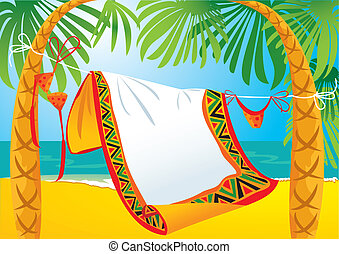 landscape frame with tropic beach