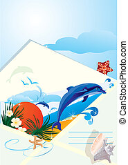 summer holiday envelope with beach,