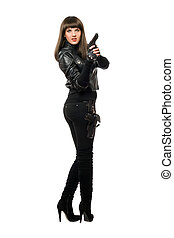Hot  armed female in black