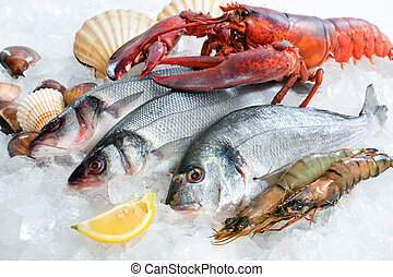 Seafood on ice - Fresh catch of fish and other seafood on...