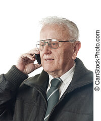 Real people - Senior businessman with phone portrait over...