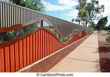 Fence and walking path, Alice Springs, Northern Territory,...