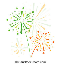 Firework in honor of st Patricks day Vector illustration