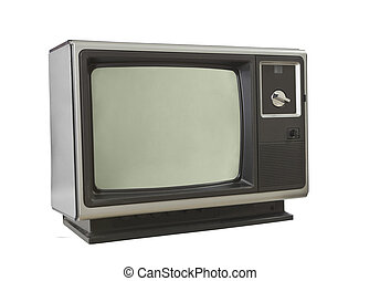 Vintage 1970s Television Isolated on White - Vintage 1970s...