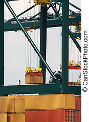 Antwerp container port - Detail of Antwerp port with...