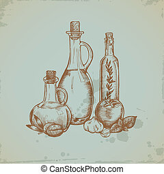 Hand drawn Olive Oil in Glass Bottles. Still life...