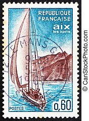 Postage stamp France 1965 Sailboat, Aix-les-Bains - FRANCE -...