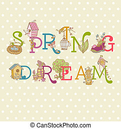 Colorful Spring Text - for scrapbook in vector