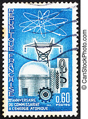 Postage stamp France 1965 Atomic Reactor and Diagram -...