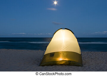 Tent at Night - Lite tent on a beach in Prince Edward Island...