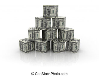 Money building blocks  - Pyramid shape made of money blocks